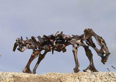 Dickschädel als Einzelgänger'. Schafsknochen. Mit Bronze, Kupfer, Schwarz, Silber koloriert. Fundort Andalusien.